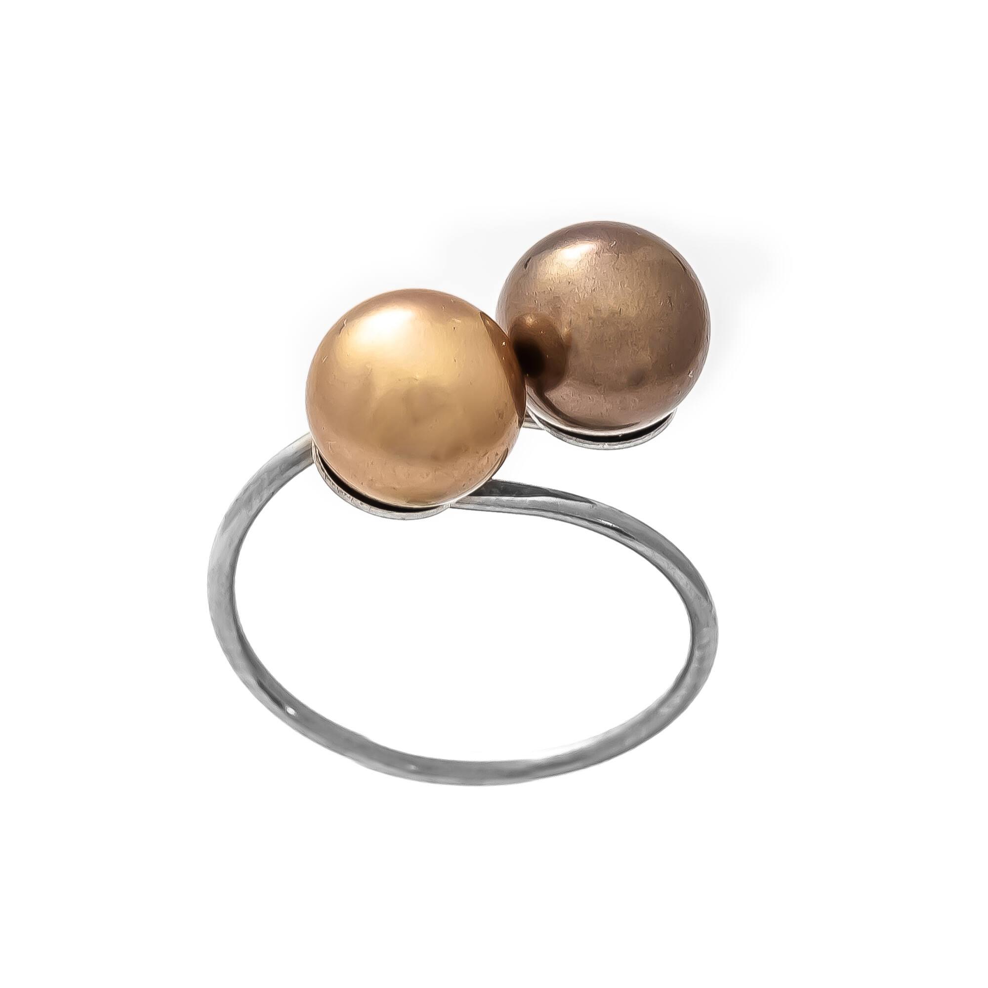 GYÖNGY GYŰRŰ - bronz /brown