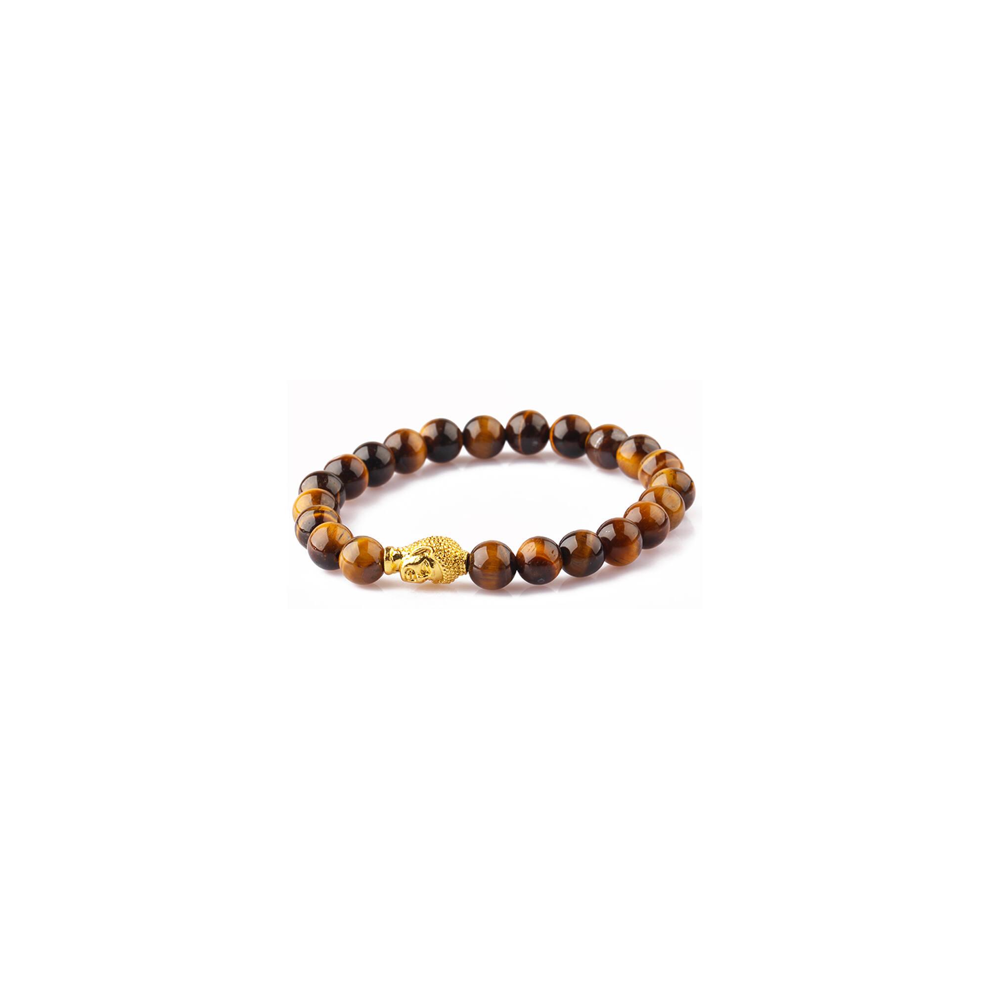 Tigrisszem karkötő, arany színű Buddhával