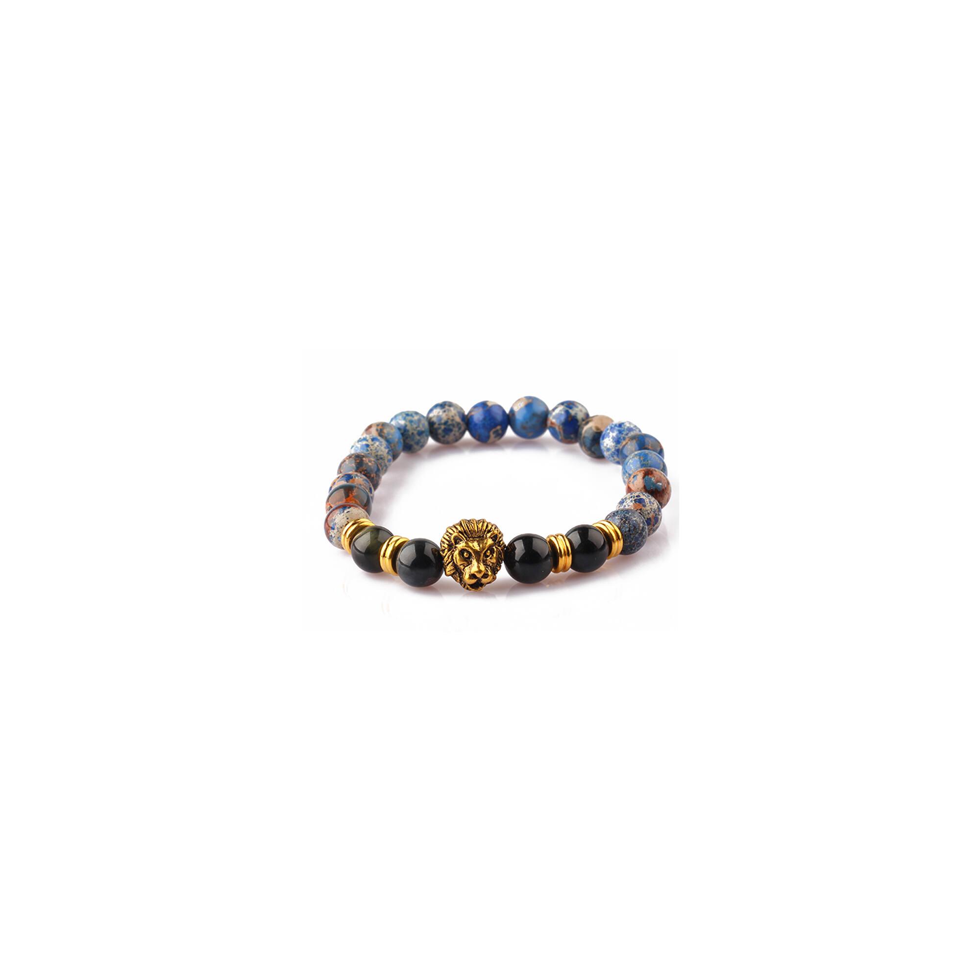 Kék jáspis -  achát ásvány karkötő, arany színű oroszlánnal