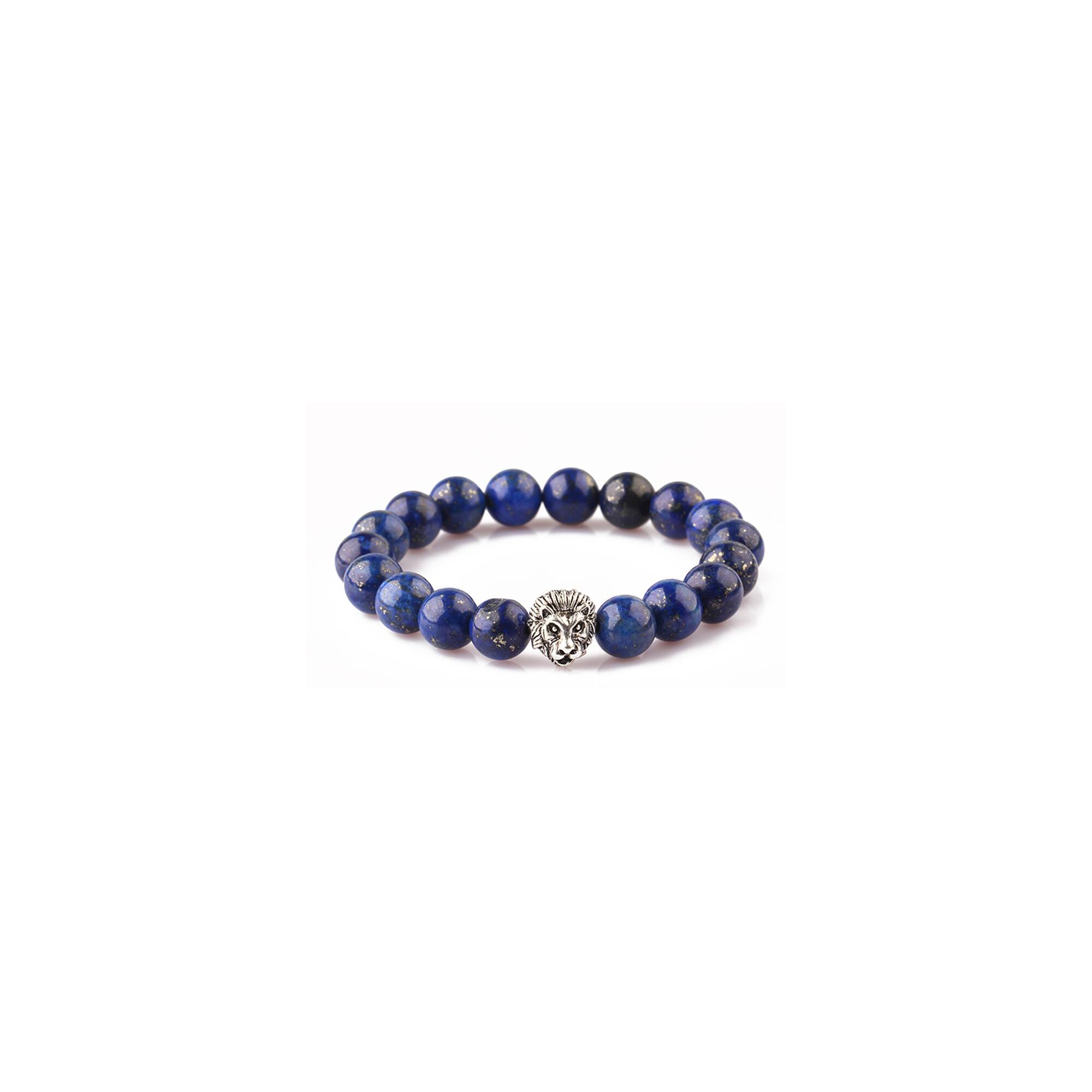 Lápisz lazuli karkötő, ezüst színű oroszlánnal