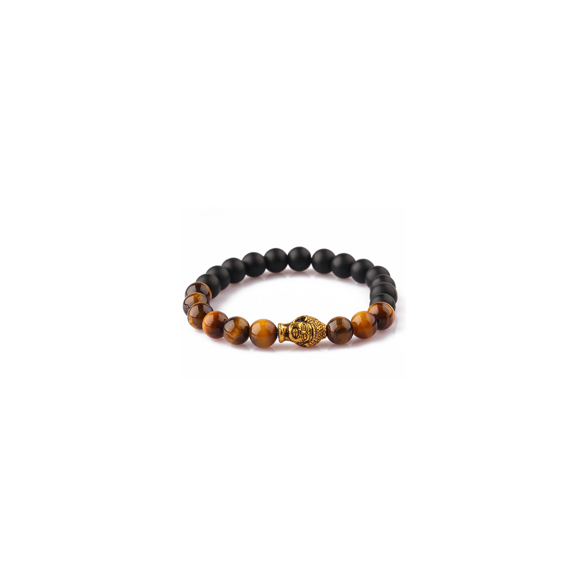 Tigrisszem ásványi karkötő  achát-al, arany színű Buddhával