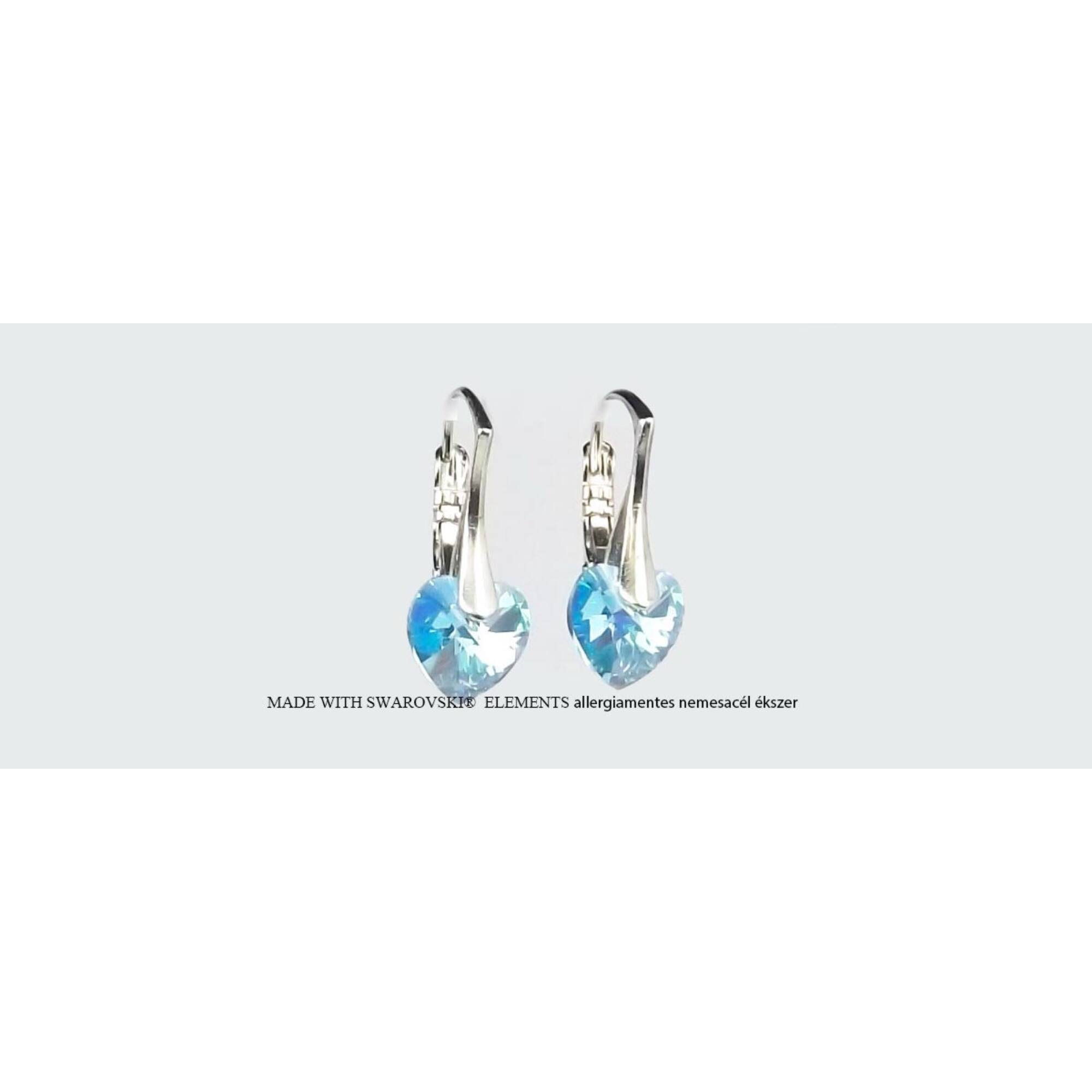 Swarovski  szív fülbevaló Francia kapcsos