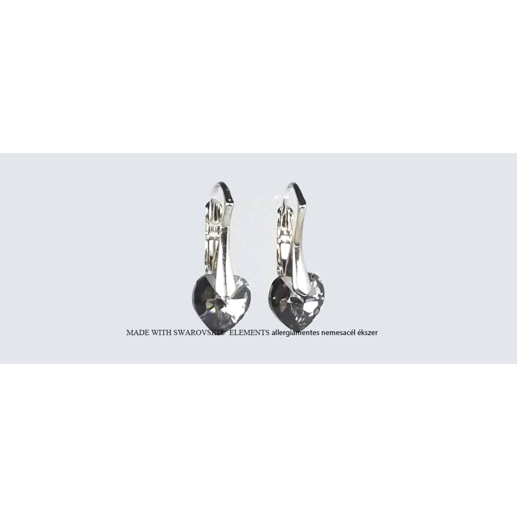 Swarovski kristályos szív fülbevaló Francia kapcsos