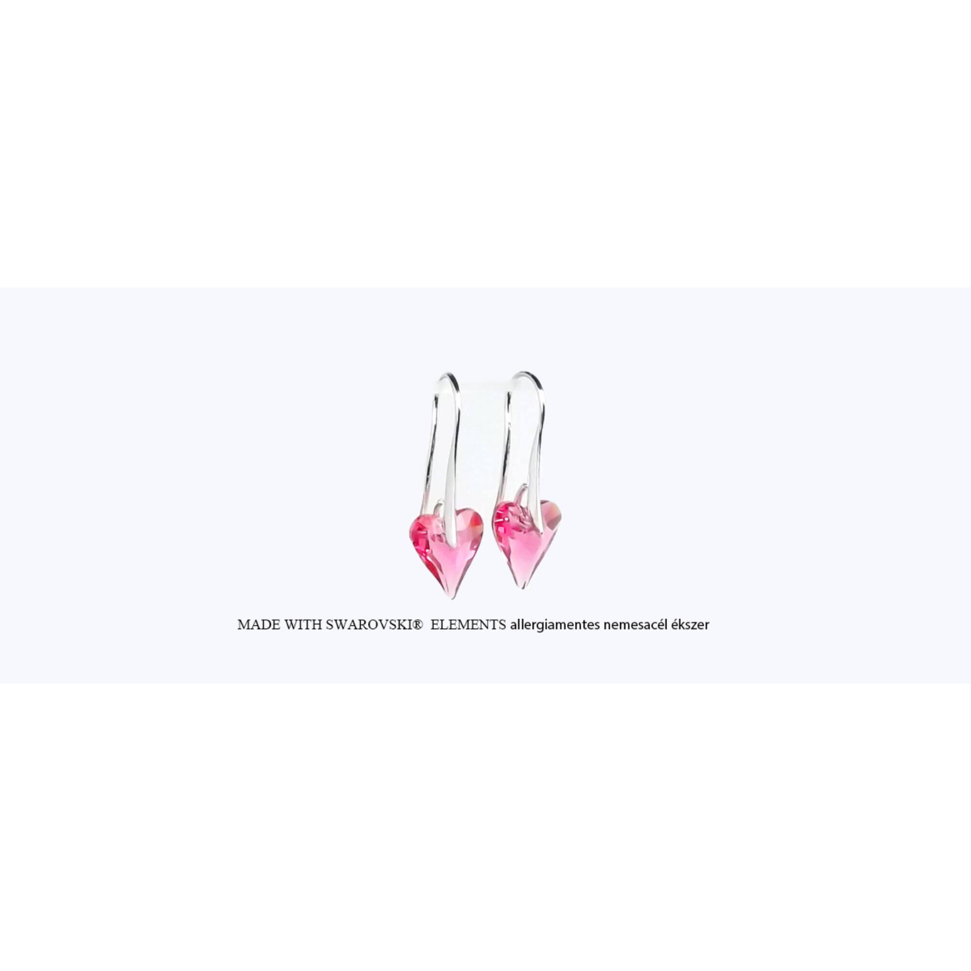 Hosszúkás szív alakú akasztós fülbevaló