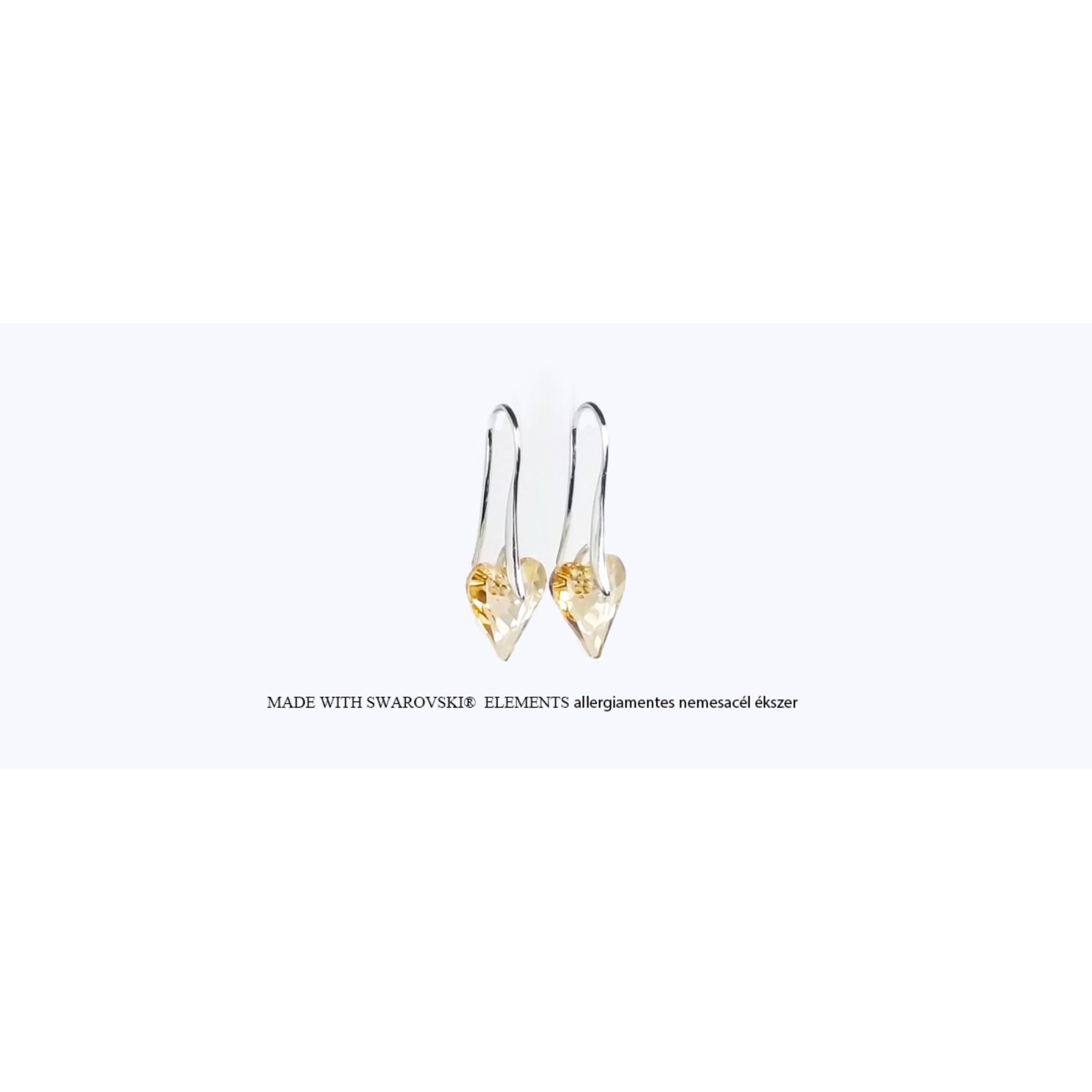 Swarovski hosszúkás szív alakú akasztós fülbevaló