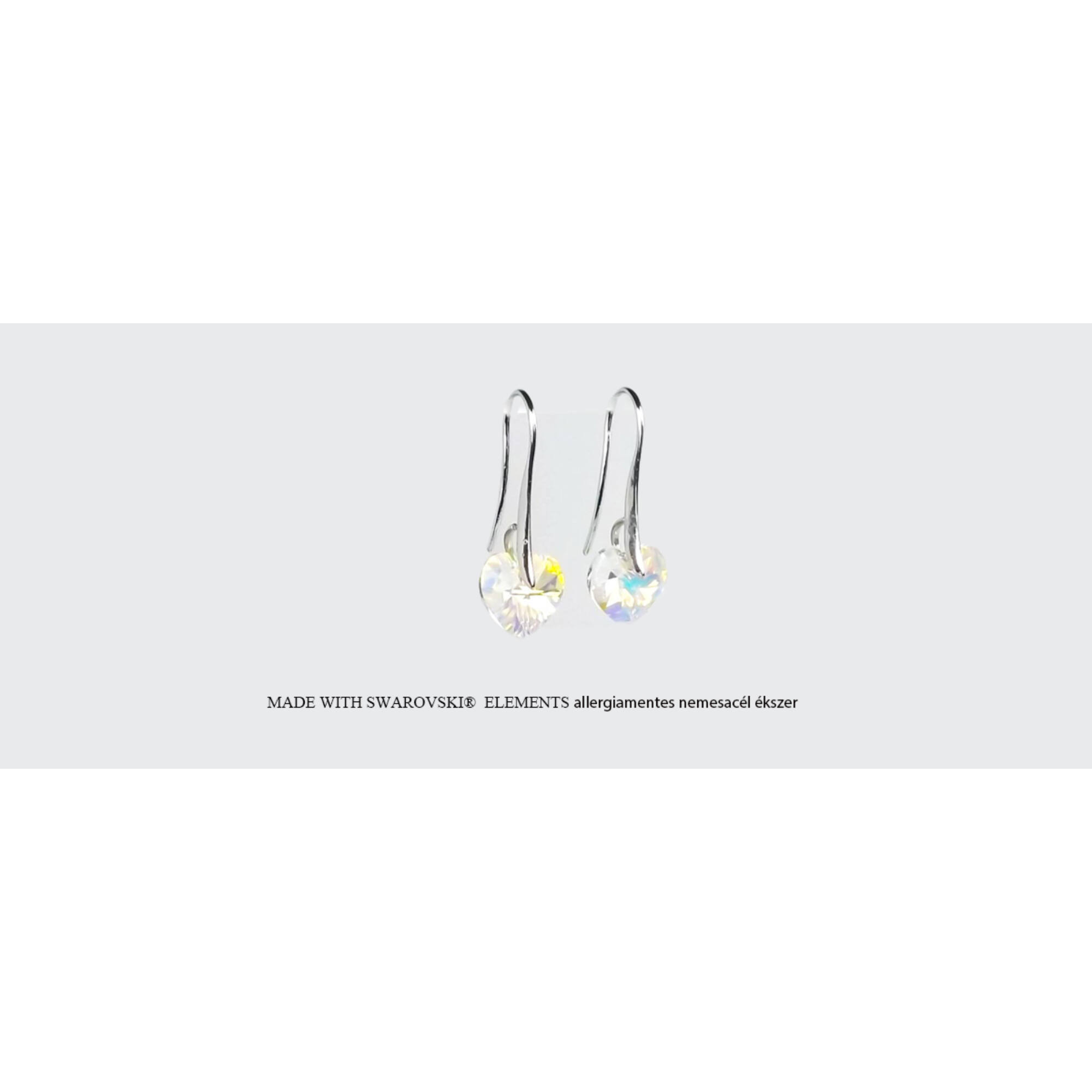 Swarovski szív alakú akasztós fülbevaló