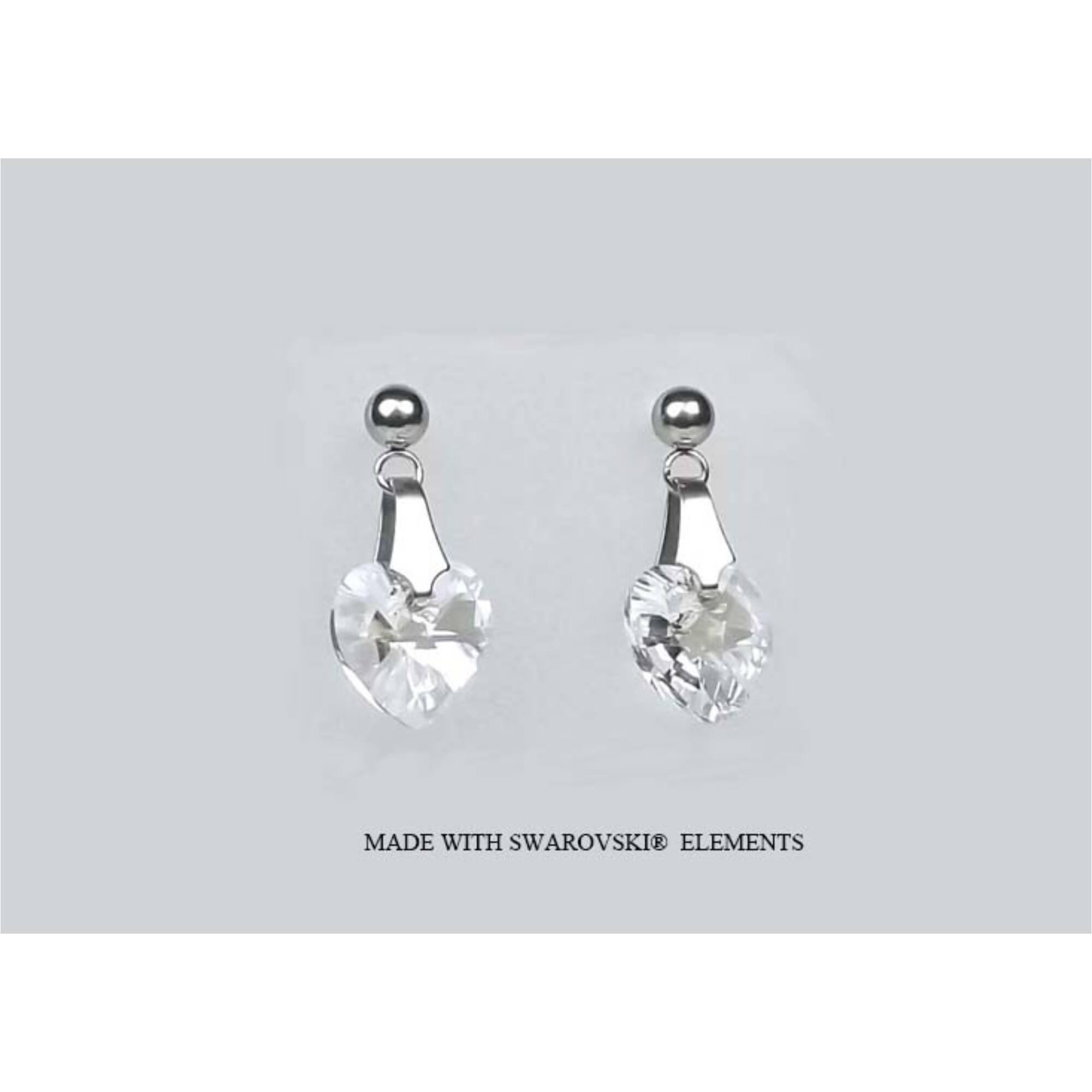 Swarovski kristályos bedugós szív fülbevaló