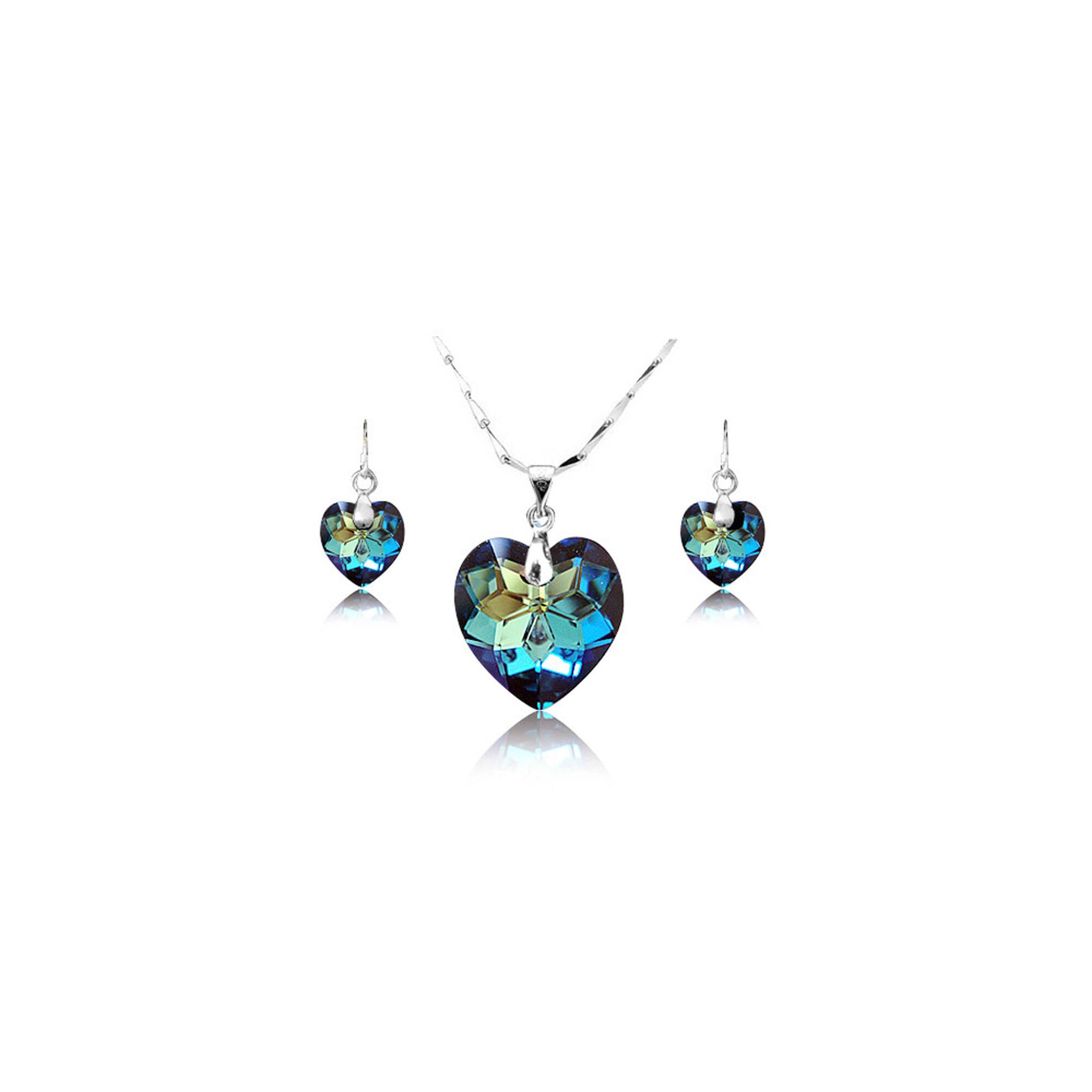 Ezüst szív ékszer szett Swarovski kristályokkal