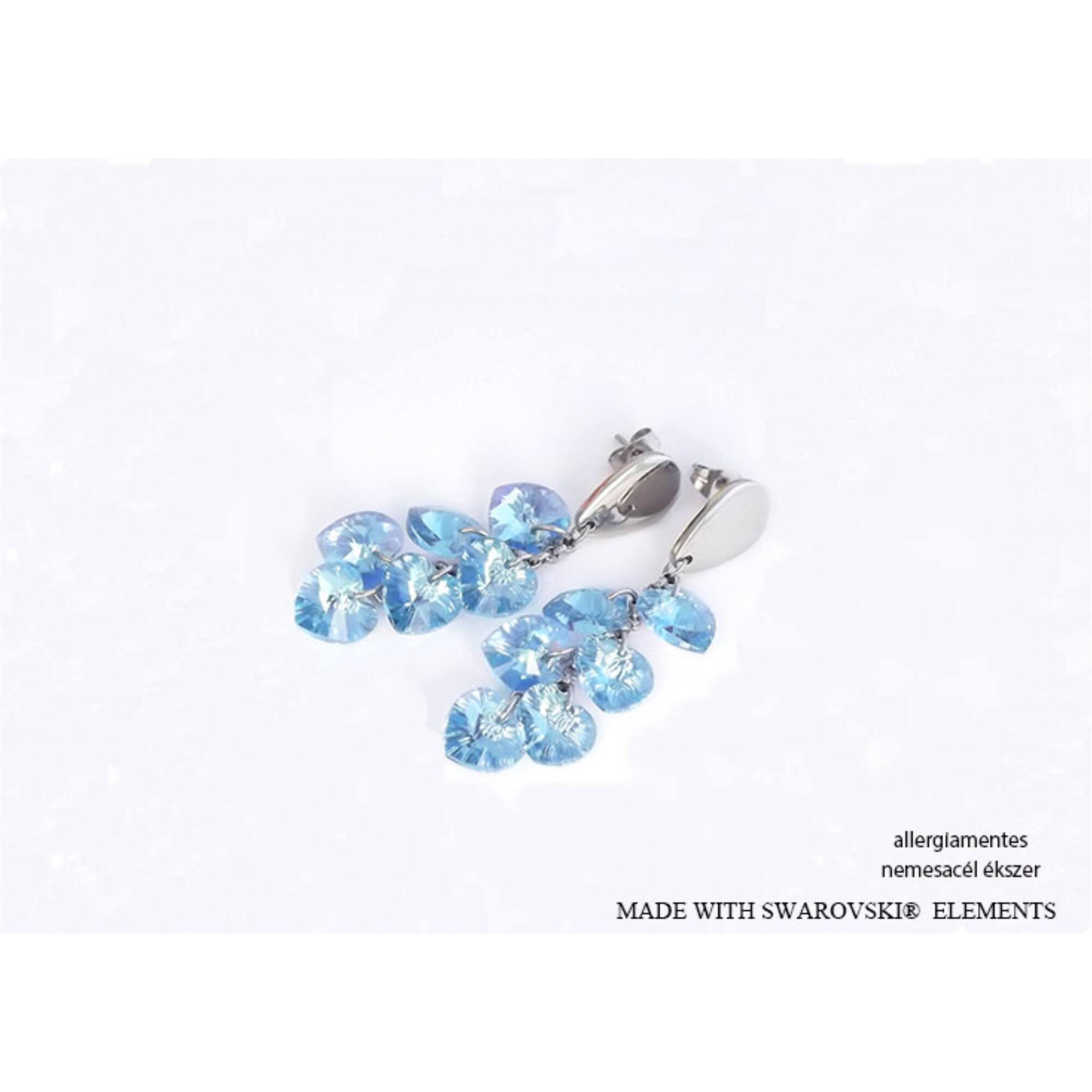 Fürtös szív Swarovski kristályos fülbevaló