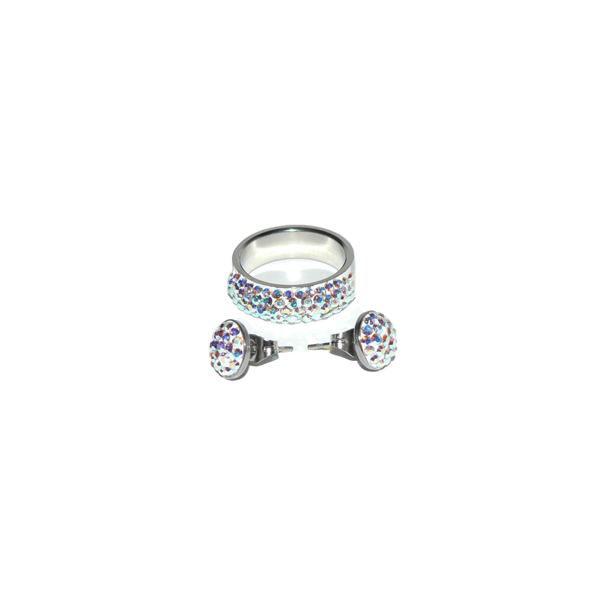 Swarovski kristályos fülbevaló gyűrűvel