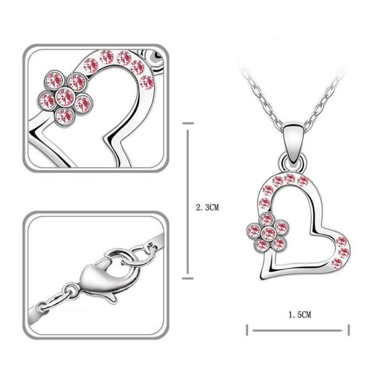 Swarovski kristályos Virágos szív szett